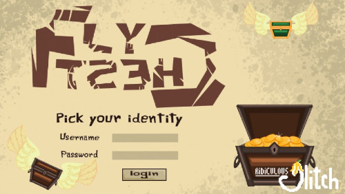 Flychest game start screen, pick your identity login form