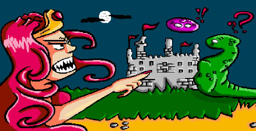 Sweetie and the carnage game illustration about a princess who point at some monsters around her castle