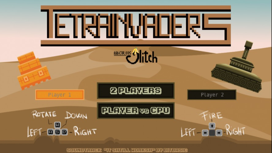 Tetrainvaders game menu screen, desert illustration with play instructions and mode selection